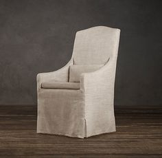 this in gray at heads of table Belgian Camelback Slipcovered Armchair