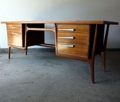 1960s Mid Century Modern Walnut Executive Desk. LOVE THIS!