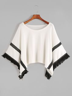 Black and White Contrast Crochet Fringe Hem Poncho Sweater