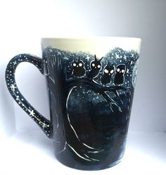 The Dark Trail Coffee Mug - Unique one of a kind hand painted coffee mugs from my Etsy shop https://www.etsy.com/listing/153114857/the-dark-trail-made-to-order-coffee-mug