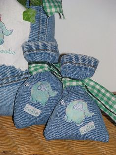 Upcycled jeans -- denim favor bags <-- because it's really appetizing to bring candy home from a party in your old, dirty jeans.