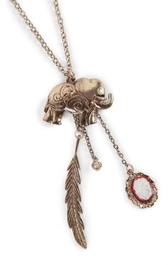 Deb Shops Long Necklace with Elephant and Feather Charm $7.50
