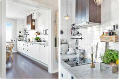 white kitchen industrial, concrete countertop