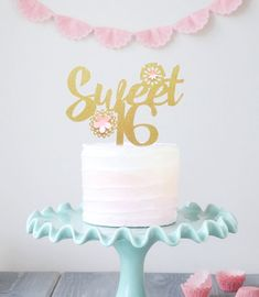 Sweet Sixteen Cake Topper Gold 16 Girls 16th Birthday Party Paper Flowers