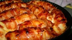 Chicken rolls with smoked cheese. Ingredients: - chicken breast - Bacon (thin strips) - smoked cheese For the sauce: - Cloves - 2 pcs. Meat Recipes, Chicken Recipes, Snack Recipes, Cooking Recipes, Hungarian Recipes, Russian Recipes, Smoke Cheese Recipe, Cheese Wrap, Smoked Cheese