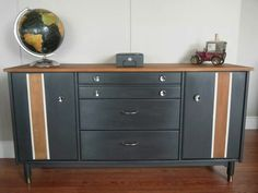 Vintage sideboard with wood race stripes, refinished in our homemade chalky paint.