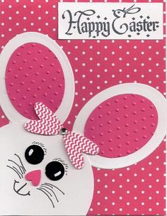 handmade card: Happy Easter by bmbfield ... die cut pieces create bunny head ... hot pink and white with black ink greetin and facial features ... cute card ... Hero Arts