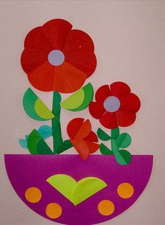 35 ideas to Make Creative Pictures with Paper Circles - Crazzy Craft Kids Crafts, Flower Crafts Kids, Diy Crafts To Do, Preschool Crafts, Arts And Crafts, Preschool Learning, Decor Crafts, Spring Art, Spring Crafts
