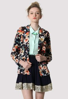 Flower Print Blazer in Navy - Retro, Indie and Unique Fashion