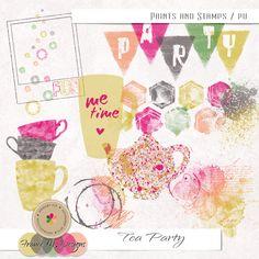 Tea Party - Paints and Stamps :: France M. Designs :: Shop by Designer :: Memory Scraps