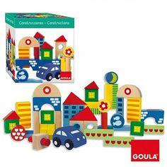 Juego de construcción de 41 piezas de madera con formas geométricas y coche con ruedas. Los niños podránexpresar su habilidad manipulando las diferentes piezas geométricas muy coloridas y con grandes diseños. Son perfectas para apilar por formas, colores... y construir pequeñas casas, puentes, escaleras o torres. Incluye: Coche con ruedas 40 piezas  Presentado en práctica caja de almacenamiento. Edad recomendada: a partir de 1 año. Medidas de la caja:18,5 x 18,5 x 19 cm.