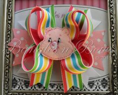 Carebear Cheer Bear Stacked Boutique Hair Bow by BanglesnBows, $9.50