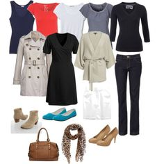Travel wardrobe. Just pack the basics and some great accessories, and you're all set for a fashionable trip!