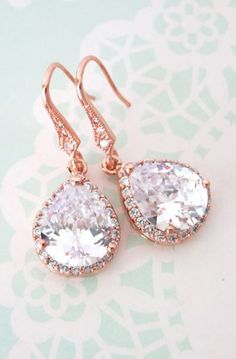 Rose Gold Luxe Cubic Zirconia Teardrop Earrings