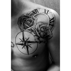 Tattoo of compass & roses with Roman numeral years on clock design on shoulder and chest next to puzzle piece https://instagram.com/p/BTK7R3vAdwL/