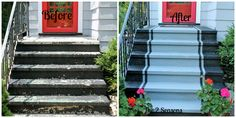 Easy curb appeal update. Paint stairs with concrete paint.- The 2 Seasons This Old House, Porch Steps, Front Steps, Garage Steps, Better Homes And Gardens, Houzz, Brick Edging, Concrete Stairs, Painted Concrete Steps