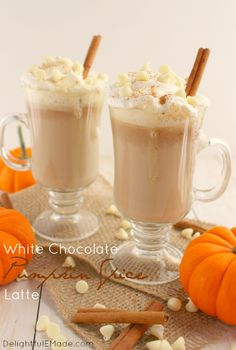 If you like the classic Pumpkin Spice Latte, you're gonna adore this white chocolate version of the must-have fall drink!  Made with just a few simple ingredients, this wonderful hot concoction will be your new favorite!  No espresso machine necessary!