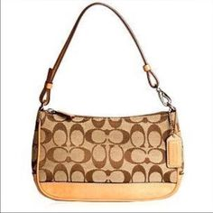 """Authentic Coach Handbag Tan and brown small logo coach handbag with zip closure and one pocket inside. Gently used in great condition. Measures 9.5"""" across. PRICE FIRM UNLESS BUNDLED Coach Bags"""