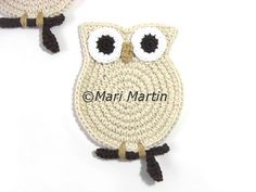 New Owl Cream Coasters ~ The most beautiful crocheted items