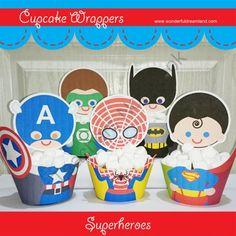 Printable Digital PDF File - Cupcake Wrappers Superhero Super hero Baby Boy Set from Wonderful Dreamland on TeachersNotebook.com -  (9 pages)  - cupcake wrapper, superhero, super hero, baby boy