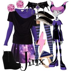Jinx from Teen Titans Teen Titans Outfits, Teen Titans Costumes, Jinx Teen Titans, Casual Cosplay, Cosplay Outfits, Jinx Cosplay, Cosplay Ideas, Costume Ideas, Modern Outfits