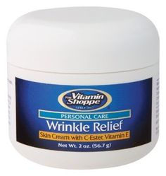 Vitamin Shoppe - Wrinkle Relief, 2 oz cream by Vitamin Shoppe. $17.49. Serving Size - 2 oz. Wrinkle Relief Cream contains C-Ester, Vitamin E, Alpha-Lipoic Acid, Grape Seed Extract and more.  It also delivers essential oils, nutrients and botanicals to your skin.