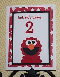 From Me 2 U: A Stamper's Journey: Happy Monday - Elmo Punch Art Card