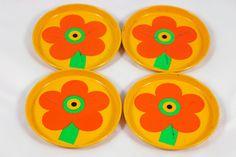 set of vintage flower patterned coasters designed by Al and Lena Eklund