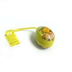 small cute Easter egg tin box with ribbon
