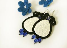 Black and white soutache earrings with blue crystals by pUkke