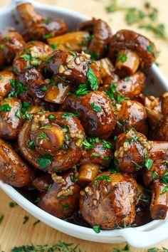 Christmas Balsamic Soy Sauce Roasted Garlic Mushrooms