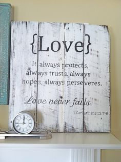 Hand painted Barn Wood Sign with Love Scripture: 1 Corinthians 13 Barn Wood Signs, Pallet Signs, Wooden Signs, Pallet Art, Diy Pallet, Pallet Wood, Pallet Ideas, Wood Ideas, Love Scriptures
