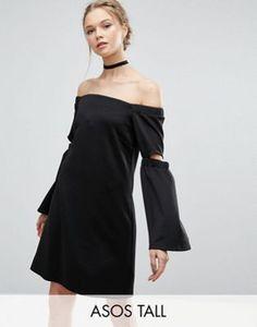 ASOS TALL Off Shoulder Split Sleeve Swing Dress in Scuba