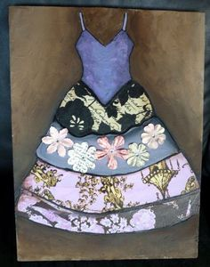 mixed media paper dresses | Image of Floral Dress- 12 by 16 inch original mixed media painting