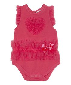 This Watermelon Ruffle Heart Bodysuit is perfect! #zulilyfinds...MARY got this from AUNT MARY!!!