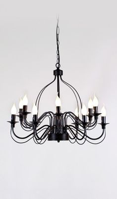 French Provincial Traditional Iron Pendant Black Large Rustic Chandelier 12 Lights