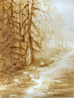 Leśna droga - watercolour painted with coffee - Maria Roszkowska Coffee Artwork, Coffee Painting, Watercolours, Watercolour Painting, Art Designs, Art Work, Landscapes, Writing, Drawings