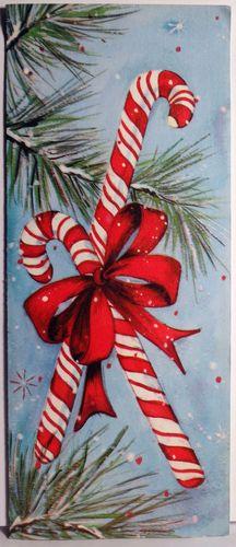 50s Festive Candy Canes Vintage Christmas Card 666 | eBay