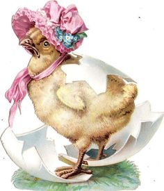 Oblaten Glanzbild scrap die cut  chromo  Ostern easter  Küken chicken  Ei egg