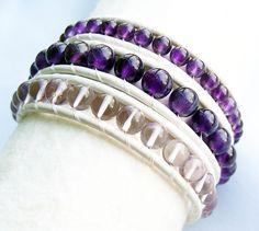 Amethyst and Lavender Amethyst White Leather Beaded Bracelet #amethyst