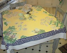 Vintage Tablecloth Dreamy Asian Themed Garden by unclebunkstrunk, $74.99
