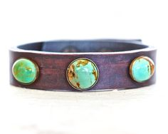 Hey, I found this really awesome Etsy listing at https://www.etsy.com/listing/202576037/turquoise-leather-rustic-cuff-hand