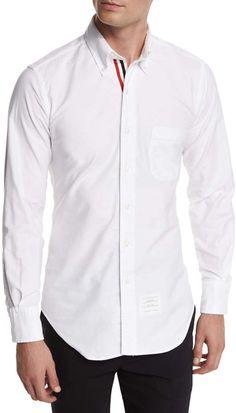 2d13d81c982c Thom Browne Long-Sleeve Cotton Oxford Shirt