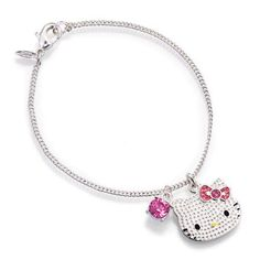 """Textured silvertone bracelet with Hello Kitty Charm and faux pink faceted stone charm 7 1/4"""" L chain with 1"""" extender. Comes in a black Avon jewelry box with white Hello Kitty graphics sleeve. <br><br>Hello Kitty© 1976, 2013 Sanrio Co., Ltd. Used Under License."""