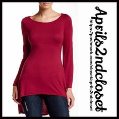 """TUNIC Hi Lo Swing Cape Top NEW WITH TAGSRetail: $88  TUNIC Hi Lo Swing Top  * Oversized body/relaxed loose knit A-line silhouette  * Incredibly soft & high quality fabric  * Crew neck, long sleeves, & topstitch panels for a swing look  * Approx 28""""-34.5"""" long, hi-lo hem  * Pullover/stretch-to-fit  Fabric:95% Rayon 5% Spandex; Made in the USA  Color: Wine Item: T-Shirt No Trades ✅Offers Considered*/Bundle Discounts✅ *Please use the blue 'offer' button to submit an offer. 24/7 Comfort Tops…"""