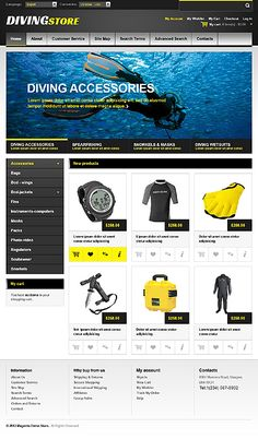 Online #Diving store theme. #eCommerce