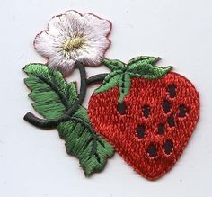 Iron On Embroidered Applique Patch Strawberry with Flower Blossum