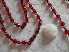 Ruby Red 4mm Fire Polished Glass Beads on Jet Black Beaded Chain - Qty 18 Inch strand