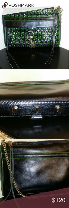 ! Rebecca Minkoff Classic Clutch! A green and black basket weave design with gold hardware to set it off. This clutch was used once for a wedding and I got MANY likes on it! I LOVE that it has a footed row of gold studs extending the length of the clutch along the bottom. Feet are important to me with a handbag, ijs :-) I noticed a bit of color difference on the gold hook which is not noticeable at all. Polka-dot dust bag, matching the inner lining of this cutie and detachable chain strap…