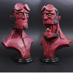 Hellboy engagement ring box. Hand sculpted with sculpey, one of the kind figure. #hellboy #ringbox #proposal #wedding #engagement Ring Boxes, Proposal, Wedding Engagement, Sculpting, Carving, Superhero, Rings, Fictional Characters, Art